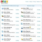 Zoho front page offerings